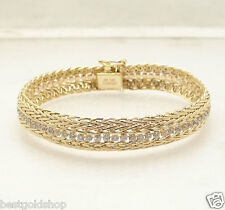 UNIQUE Double Row Wheat Spiga Bracelet with CZ Tennis Link Real 14K Yellow Gold