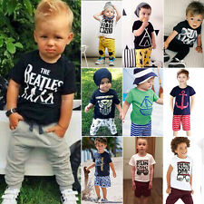 Summer Toddler Baby Boy Kids T-shirt Tops + Pants Trousers Outfit Sets Clothes