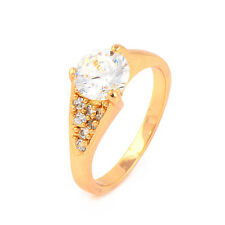 Fashion 24K Yellow Gold Plated Big Clear Round CZ Promise Love Band Ring