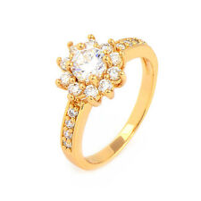 Fashion Flower 24K Yellow Gold Filled Clear Round CZ Promise Love Band Ring