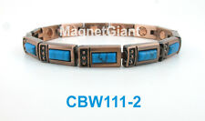 Turquoise Gemstone - Women Copper link high power magnetic bracelet CBW111-2
