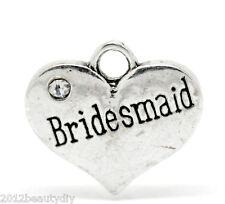 "Wholesale Silver Tone Rhinestone ""Bridesmaid"" Heart Charm Pendants 16x14mm"