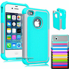 Heavy Duty Best Impact Hard Matte Defender Case Cover for iPhone 4G 4S + Film