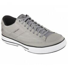 Skechers ARCADE CHAT MEMORY Mens Soft Canvas Casual Lace Up Trainers Shoes Grey