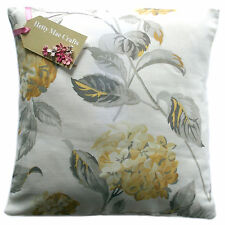 Cushion Cover in Laura Ashley Hydrangea Camomile Lemon/Grey fabric - all sizes