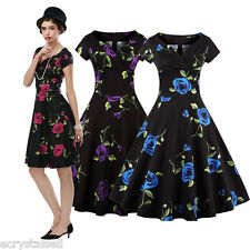 Vintage Style 1950s Rockabilly Floral RETRO Swing PINUP Party Dress Plus Size