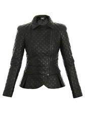 Womens Leather Quilted Jacket Genuine Lambskin Coat Biker Original New Gift Size