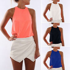 Womens Sexy Halter High Neck Sleeveless Casual Blouse T-shirt Tank Tops Vest Tee