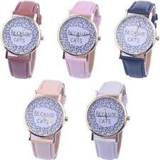 Womens Watches Girls BECAUSE CATS Leather Analog Quartz Vogue Wrist Watches Gift