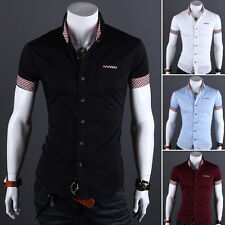 Men Casual Summer Luxury Shirts Slim Fit Stylish Dress Short Sleeve T-Shirts Tee
