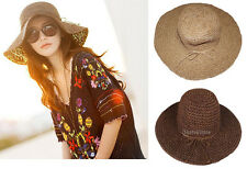 Fashion Ladies Floppy Womens Summer Beach Straw Sun Hat Wide Large Brim Foldable