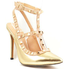 Liliana Gold Pump Pointy toe Studded Strappy Stiletto Heels Women's shoes