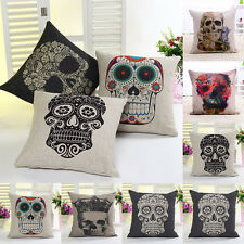 Personality Office Throw Home Decor Cozy Flax Skull Retro Pillow Cushion Cover