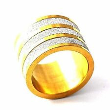 Mens 3 Scrub Silver Plated Yellow Gold Filled Big Band Ring size 8 9010 11 12
