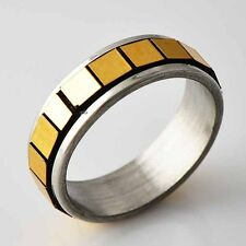 Vintage Womens Stainless Steel Orange Square Spinner love Band Ring Size 6-9