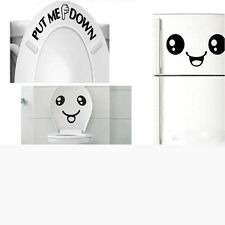 Smiley Face Toilet Decal Wall Mural Art Decor Funny Bathroom Sticker Decoration
