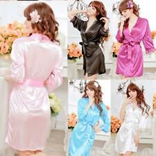 Womens Comfort Satin Sleepwear Lingerie Nightwear G-String SILK Dress Robe SEXY