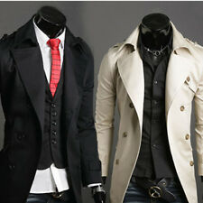 Men's Long Trench Coat Jacket Double Breasted Overcoat Windbreaker Outerwear