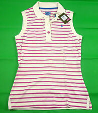Joules Cheeky Pink Stripe on White Sleeveless Polo Shirt 10% OFF Q_Cheeky Tops
