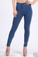 New Ladies Women Girls HIGH WAISTED STRETCHY SKINNY JEAN Legging Jegging UK 8-16