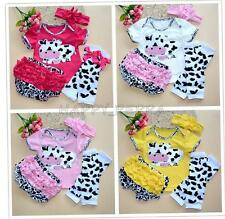 Baby Infant Girl Headband Cow Top Ruffle Shorts Leg Warmer 4PCS Outfit Set 0-12M