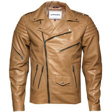 VIPARO Mens Light Tan Brando Leather Quilted Lambskin Biker Jacket - Searle