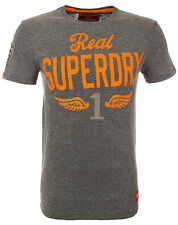 Superdry Mens Premium Flying First Retro Crew T-Shirt Cotton Dark Marl (#10138)