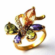 Vintage Womens Multi-color CZ Yellow Gold Filled Cocktail Band Ring Size 7-9