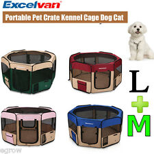 Oxford Pet Dog Cat Tent Playpen Fabric Exercise Play Pen Soft Crate Size M L