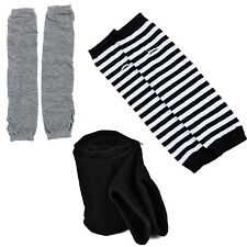 S8 Lady Stretchy Soft Arm Warmer Long Sleeve Fingerless Gloves - Black