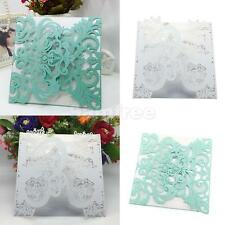 Delicate 10pcs Laser Cut Wedding Party Flower Invitation Cards DIY Craft Cards