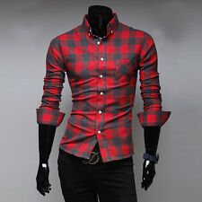 Luxury Mens Plaids Casual Shirt Slim Fit Stylish Dress Shirts Long Sleeve Tops O