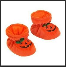 HALLOWEEN BABY BOOTIES Soft Shoes 0-6M 6-12M Orange Pumpkin Costume Infant NEW