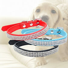 3 Row Bling Rhinestone Pet Dog Faux Leather Buckle Cat Puppy Collar Sparkly