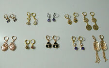Gold Plated Earrings 9k Womens Girls Simulated Gemstone Dangle DER-3