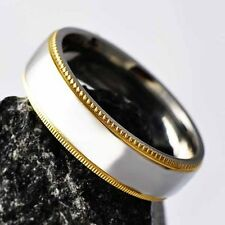 Promise Womens Mens Titanium Gold Plated Edge Band Ring Size 8 9 10 11 12