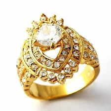 Womens 14K gold filled Clear Cubic Zirconia Womens Eye Band Ring Size 7 8 9