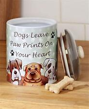 FURRY FRIENDS STONEWARE PET DOG OR CAT TREAT CANISTER JAR W/SENTIMENT-ADORABLE!