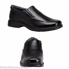 MENS HUSH PUPPIES RANDWICK EXTRA WIDE MEN'S BLACK LEATHER WORK SLIP ON SHOES