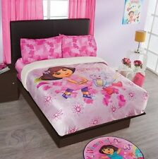 NICKELODEON DORA THE EXPLORER PINK LEAVES SHEET SET New Girls Home Bedding