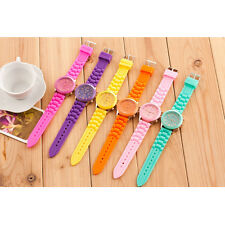 Unisex Women Mens Boys Girls Geneva Silicone Jelly Sports Quartz Wrist Watch