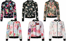 Womens Ladies Classic Floral Camouflage Print Vintage Bomber Jacket Coat