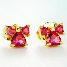 Exquisite 9K GF Clear CZ/Red Ruby Know&Heart Stud Earrings