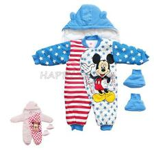 3pcs Baby Girls Boys Mickey Minnie Mouse Clothing Romper +Hat +Shoes Outfit Set