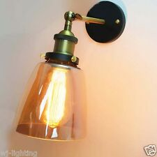 Amber Glass Shade Ceiling Vintage Retro Chandelier LED Pendant Wall Light Lamp