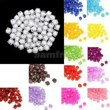 100pcs Square Acrylic Faceted Loose Spacer Beads DIY Fashion Jewelry Making Bead