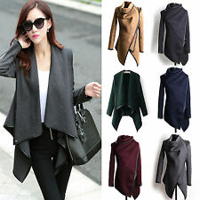 Ladies Winter Long Trench Coat Jacket Warm Asymmentric Outwear Cardigan Tops
