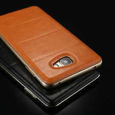 Slim Aluminum Metal Bumper Soft Leather Back Case Cover Skin For Samsung Galaxy