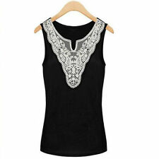 Women Summer V Neck Slim Vest Lace Crochet Sleeveless Casual Shirt Singlet wor