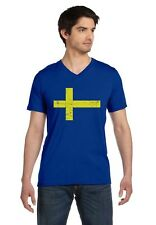 Sweden Flag Vintage Style Retro Swedish V-Neck T-Shirt Gift Idea